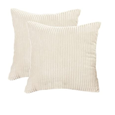 Belleine 2 Funda de cojín a rayas Funda protectora de cojín Euro Corduroy para sillas y sofá de 45 x 45 cm,Beige