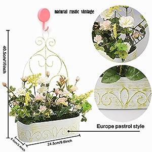 RERXN Europern Pastoral Artificial Flower in Iron Basket Silk Rose with Hanging Rack Indoor Outdoor Home Wedding Decor 2