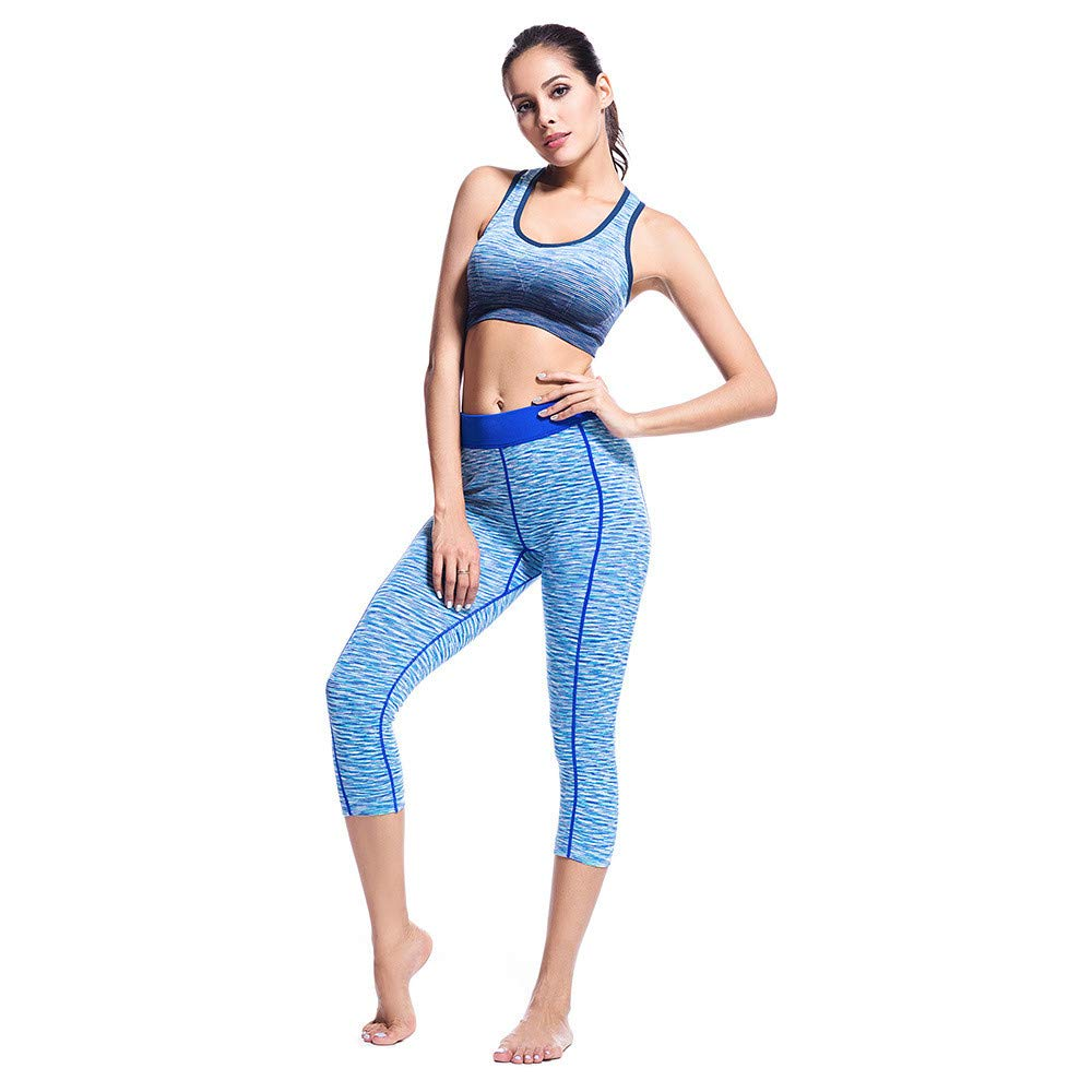 Ladies Tracksuit Set Yoga Fitness Set Digital Printing QuickDrying Vest Sports High Waist Pants 2 Piece Set Fit Yoga Exercise Fitness Gymwear (Size   XL)