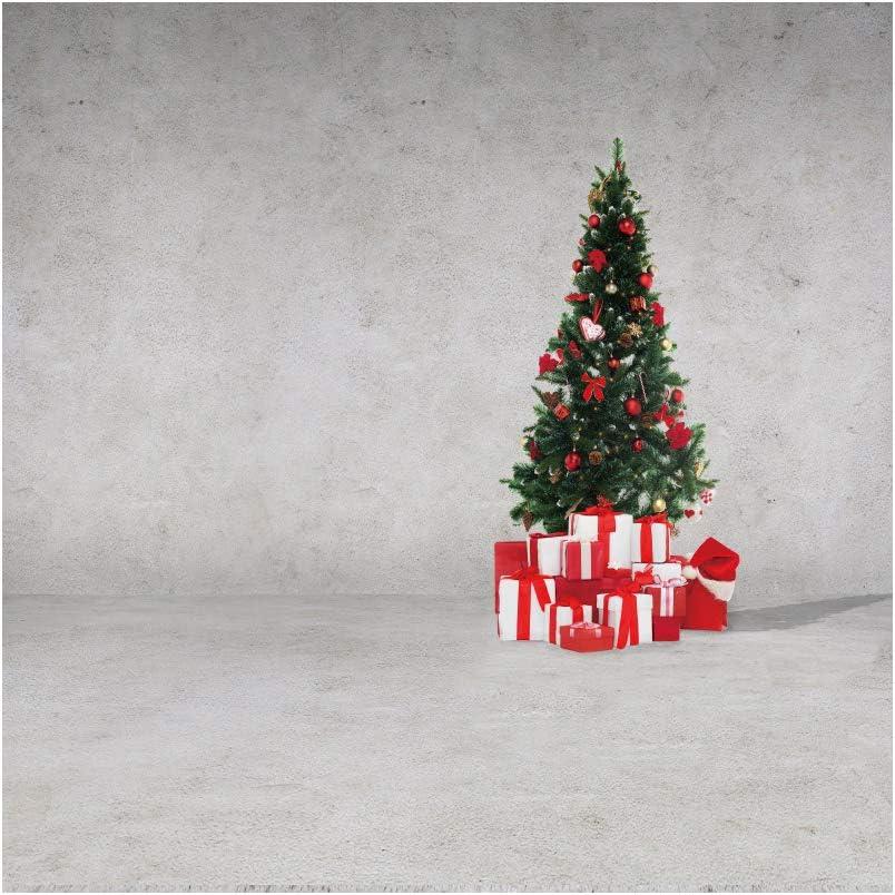 YongFoto 2,5x2,5m Navidad Fondo Árbol de Navidad Caja de Regalo Gris Cemento Papel Pintado Piso Fondo Feliz Navidad Víspera Retrato Producto Bandera Póster Fotografía Foto: Amazon.es: Electrónica