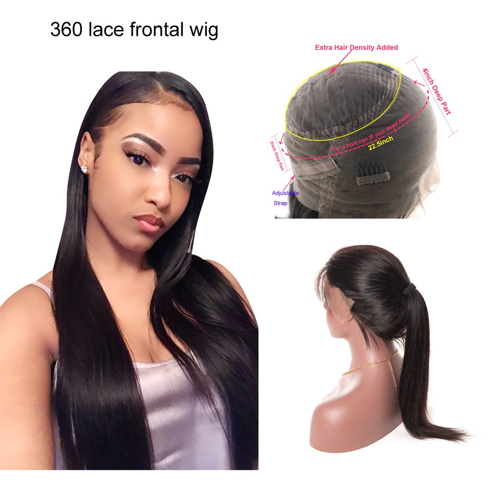 360 Lace Frontal Wig Straight Hair Brazilian Lace Human Hair Wigs 150% Density Straight 360 Lace Wig Pre Plucked Natural Hairline with Baby Hair For Black Women (18 inches)