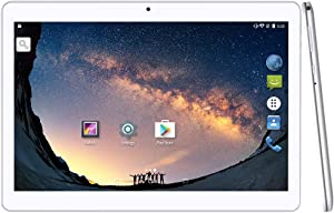YUNTAB 10.1 inch Android Tablet PC, WiFi/Unlocked 3G Connection, 2GB RAM 16GB ROM, 1.3 GHz Quad Core CPU, IPS Touch Screen,with Dual SIM Card Slots, Dual Camera (White)