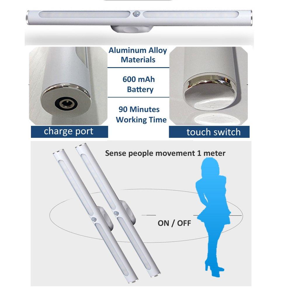 Lampe de Placard 22 LED Veilleuse LED avec Détecteur de Mouvement 3 Modes d'Eclairage Lampe d\'Armoire à Pile sans Fil USB Rechargeable pour Armoire Placard Meuble de Cuisine Escalier Miroir Lumière Chaud