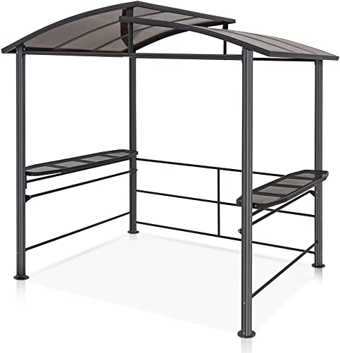 COOL Spot 8 x5 BBQ Grill Gazebo Outdoor Backyard Steel Frame Double-Tier Polycarbonate Hard Top Canopy with Shelves Serving Tables