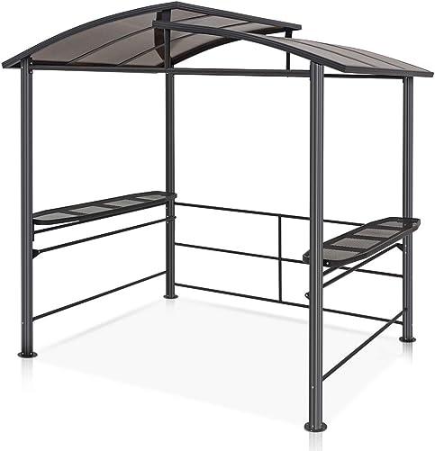 COOL Spot 8 x5 BBQ Grill Gazebo Outdoor Backyard Steel Frame Double-Tier Polycarbonate Hard Top Canopy