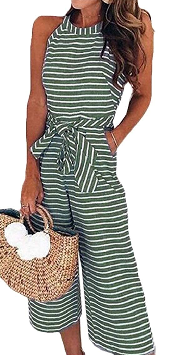 Spirio Womens Classic Wide Leg Solid Color Rompers Jumpsuits