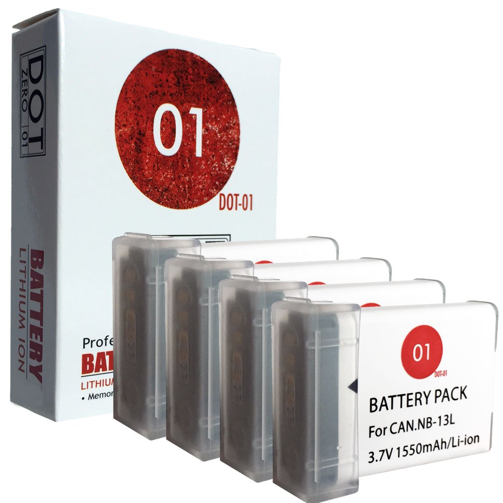 DOT-01 4x Brand Canon PowerShot G1X MARK III Batteries for Canon PowerShot G1X MARK III Mirrorless and Canon G1X III Battery Bundle for Canon NB13L NB-13L