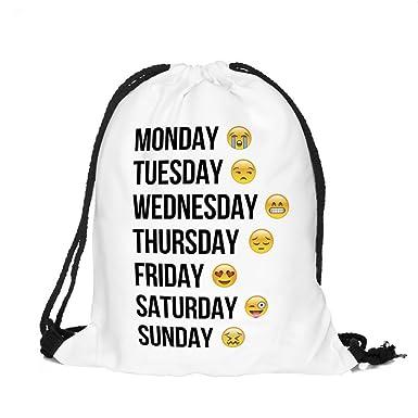 Flyfish Girls Boys Children PE Kit Drawstring Bag Duffel Gym Bag String  Emoji Gymsack Sport Swimming Backpack Travel School Shoulder Bag Pouch  (02)  ... 4c1059d05df83
