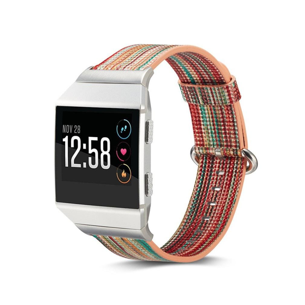 Longay for Fitbit LonicレインボーレザーストラップRelacementリストバンドループwithメタルコネクタfor Fitbit Lonic A A B076SBHTPR