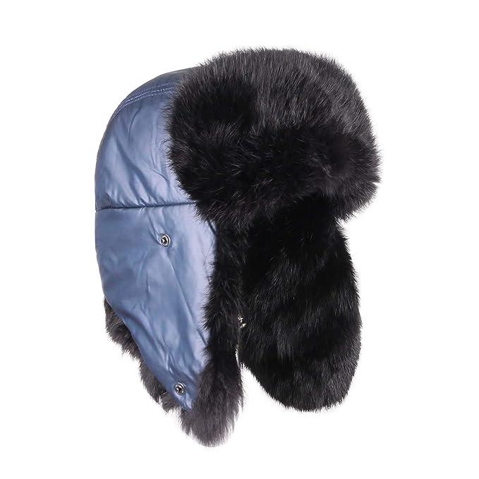 Uomo Coniglio Berretto Cappello Di Pelliccia Cappello Invernale Cappello  Aviatore Colbacco Urss Cappello Polare 40b6cfa742c1