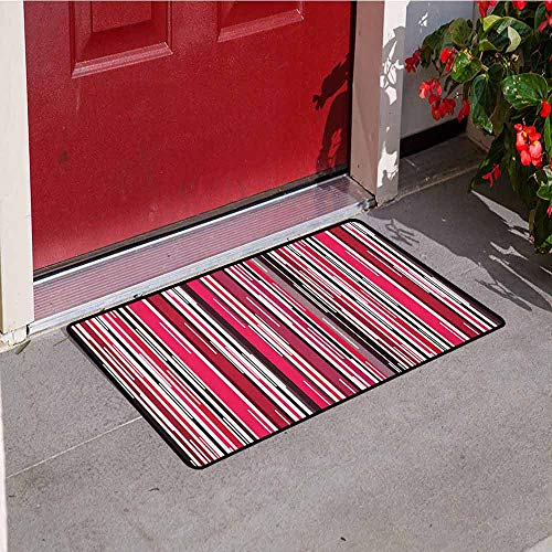 GloriaJohnson Abstract Inlet Outdoor Door mat Digital Contemporary Style Neon Lines Vertical Striped Bands in Warm Tones Image Catch dust Snow and mud W29.5 x L39.4 Inch Multicolor