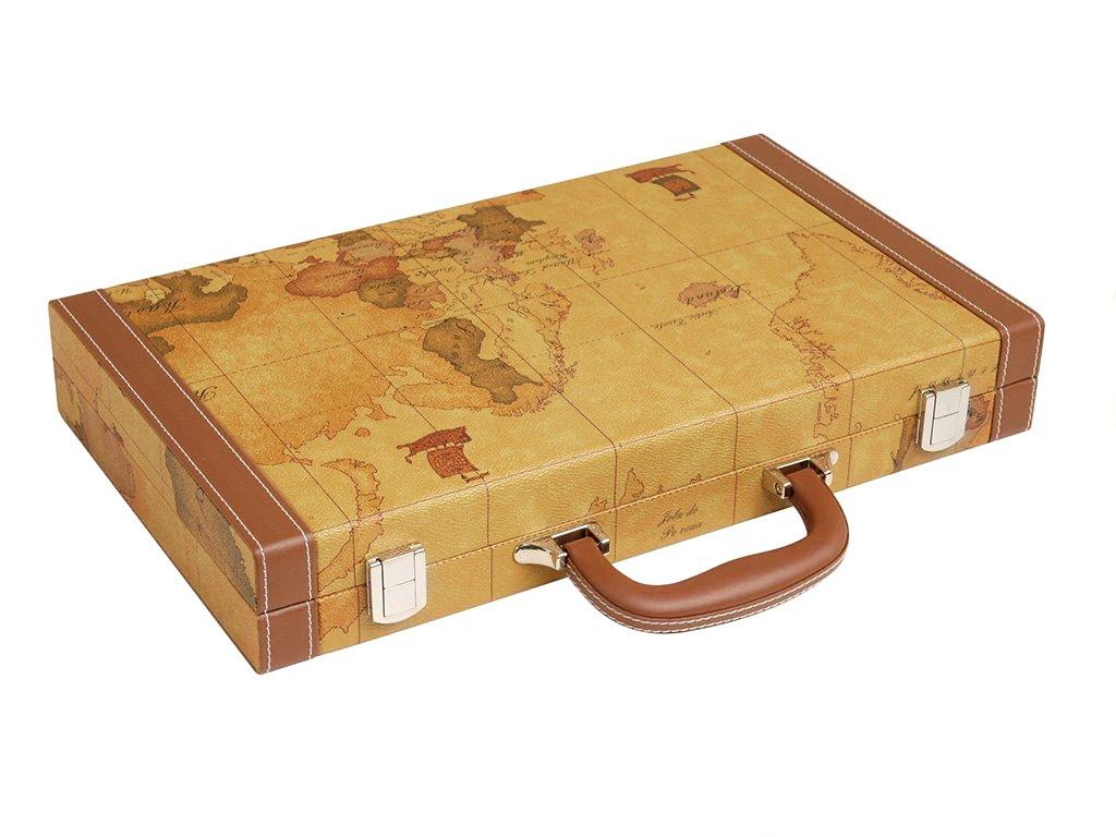 Luxus-Backgammon-Set auf Weltkarte, 15 Zoll – Braun