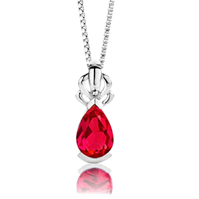 ByJoy Necklace for Women Sterling Silver pendant Ruby 45 cm chain 925 Silver Owu2cqKr0O