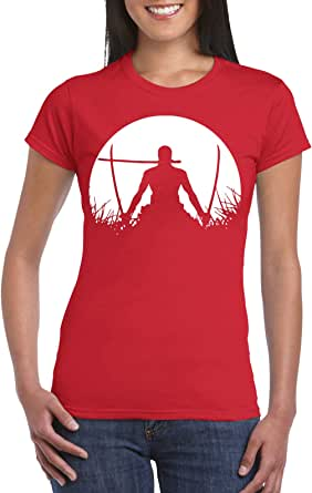 Red Female Gildan Short Sleeve T-Shirt - Zoro – Half Circle design