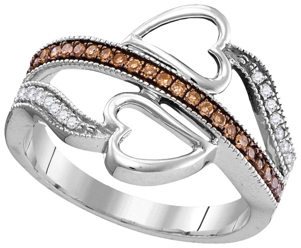 Size - 10 - Solid 10k White Gold Round Chocolate Brown And White Diamond Prong Set Curved Heart Wedding Band OR Fashion Ring (1/5 cttw)