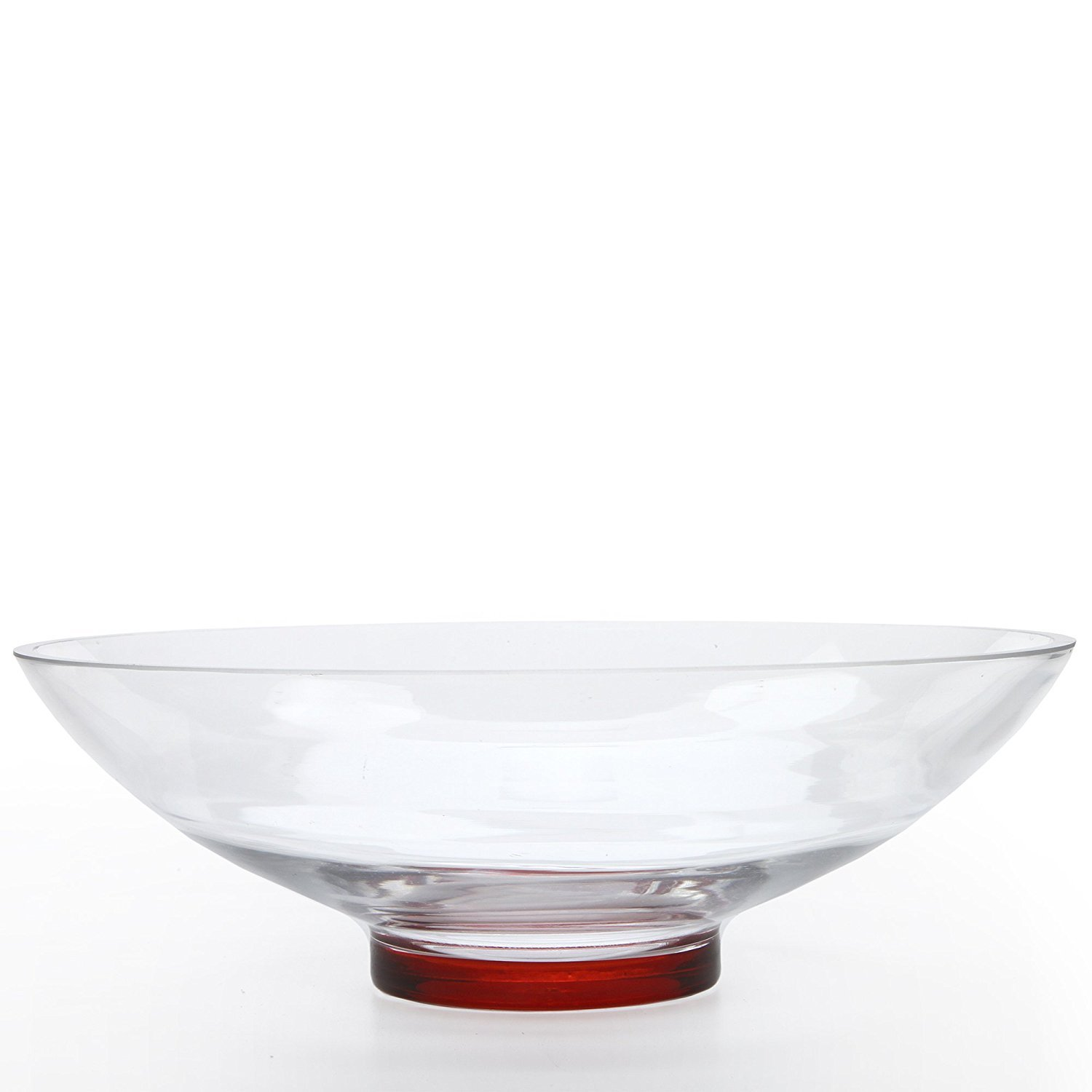 "Hosley's Clear Glass Bowl with Red Bottom, 11.8"" Diameter: Ideal for Decorative Balls/ Orbs, DIY Projects, Terrariums and More. HG Global FBA-G14548ON-1-EA"