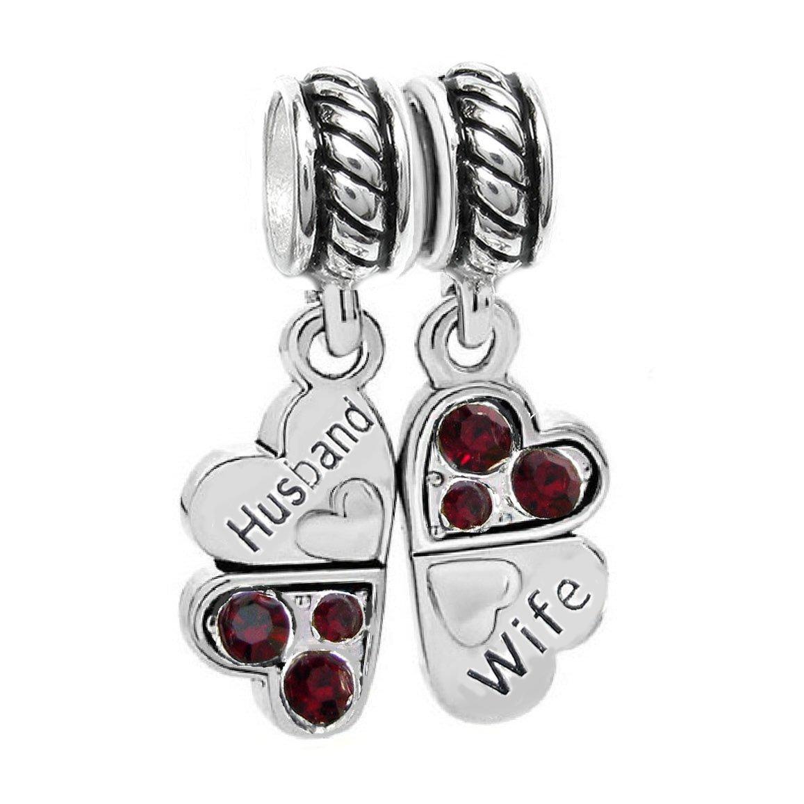 Sterling Silver Rhinestone 'Husband Wife Love' Heart European Bead Charm
