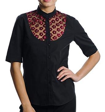 95e3ad924371 DONNA DESSA 4 Designer Oberteil, schwarze Damen Bluse, Spitze ...