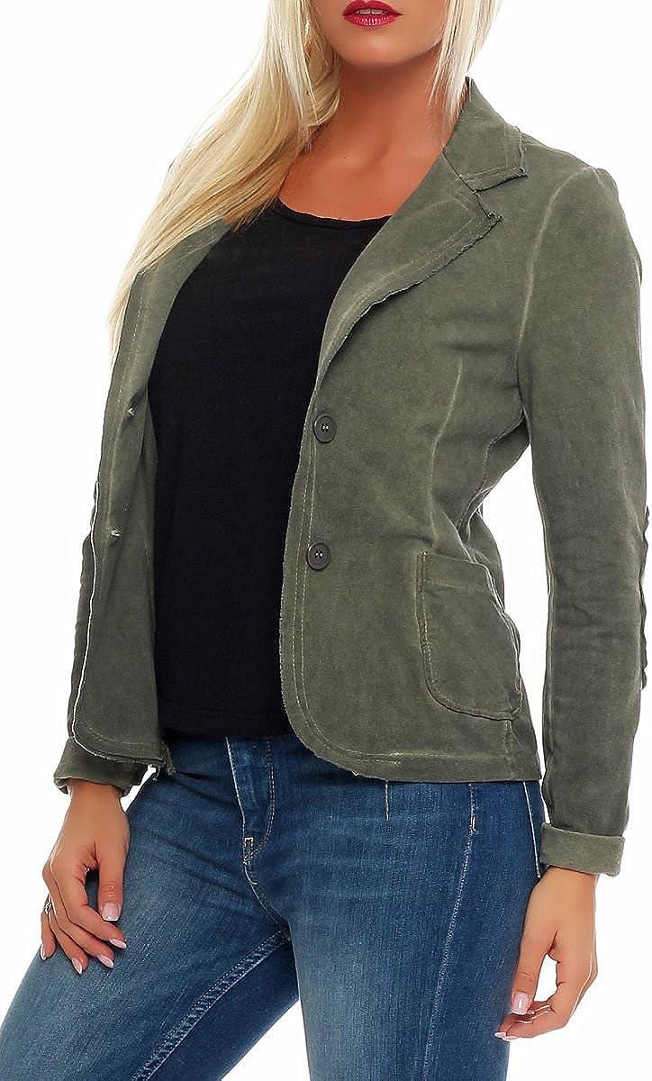 Malito Damen Blazer im Washed Style Jacke Sakko im Basic Look Jackett Kurzjacke mit Kn/öpfen Blouson 1652