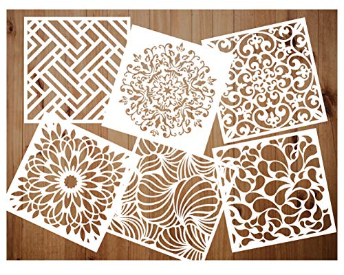 Pack of 6 Reusable Stencils Set (6x6 Inch) Laser Cut Painting Stencil Floor Wall Tile Fabric Wood Stencils (white3)