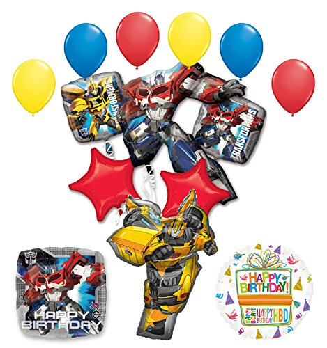 (Transformers Birthday Party Supplies Optimus Prime and Bumble Bee Balloon Bouquet)