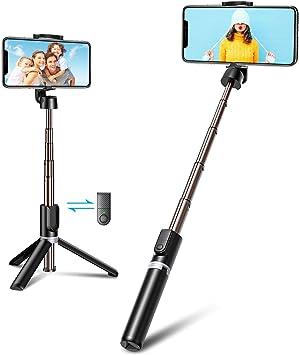 Bovon Perche Selfie Bluetooth, 3 en 1 Mini Trépied Smartphone Extensible Selfie Stick Monopode en Aluminium avec Télécommande Sans Fil Compatible avec