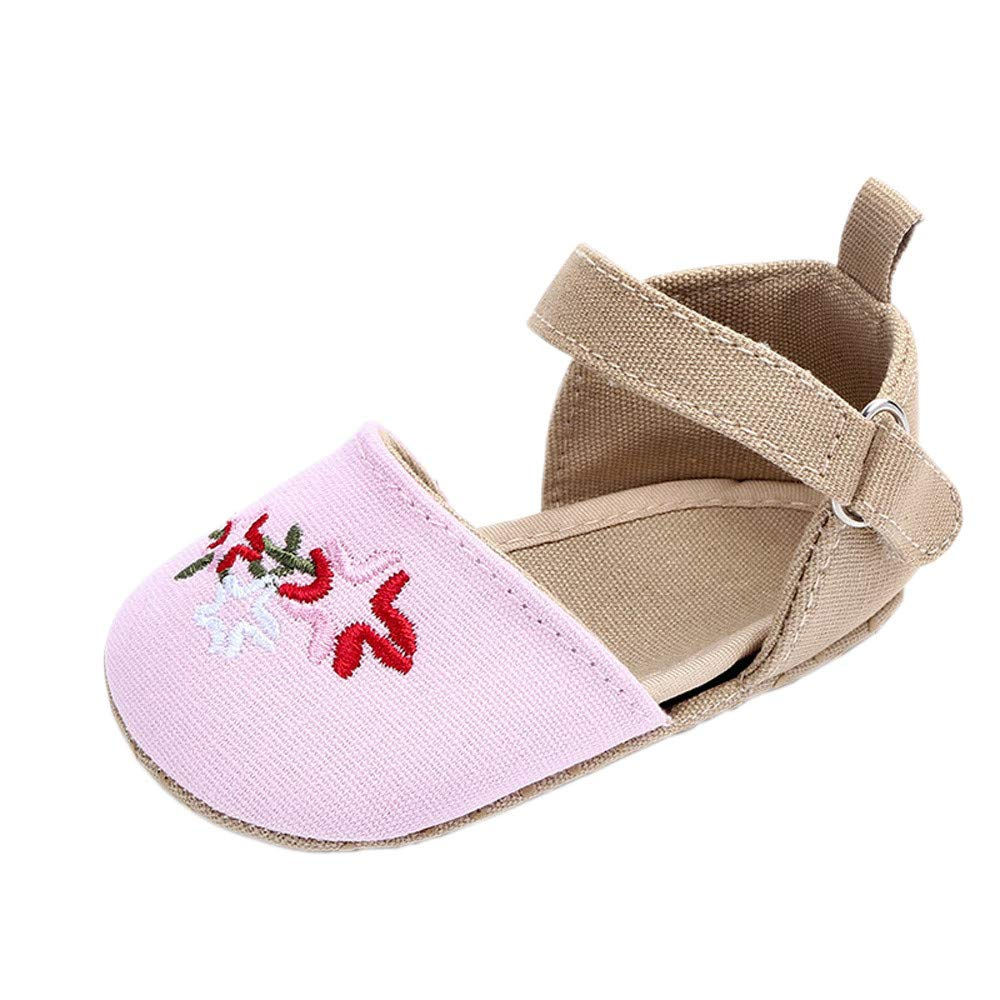 NUWFOR Cute Baby Girls Newborn Infant Cartoon Floral Casual First Walker Toddler Shoes(Pink,0-3Months)