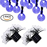 Aluvee 2pack 19.7ft/30LED Solar String Lights Fairy Blue Bubble Ball String Lamps for Outdoor Christmas Home Patio Lawn Garden Party Wedding Holiday Decorations