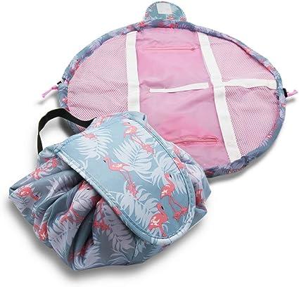 Multifunction Travel Makeup Bag Waterproof Cosmetic Organizer Drawstring Makeup Storage Bag Women Portable Toiletry Bags (Bluefl B)
