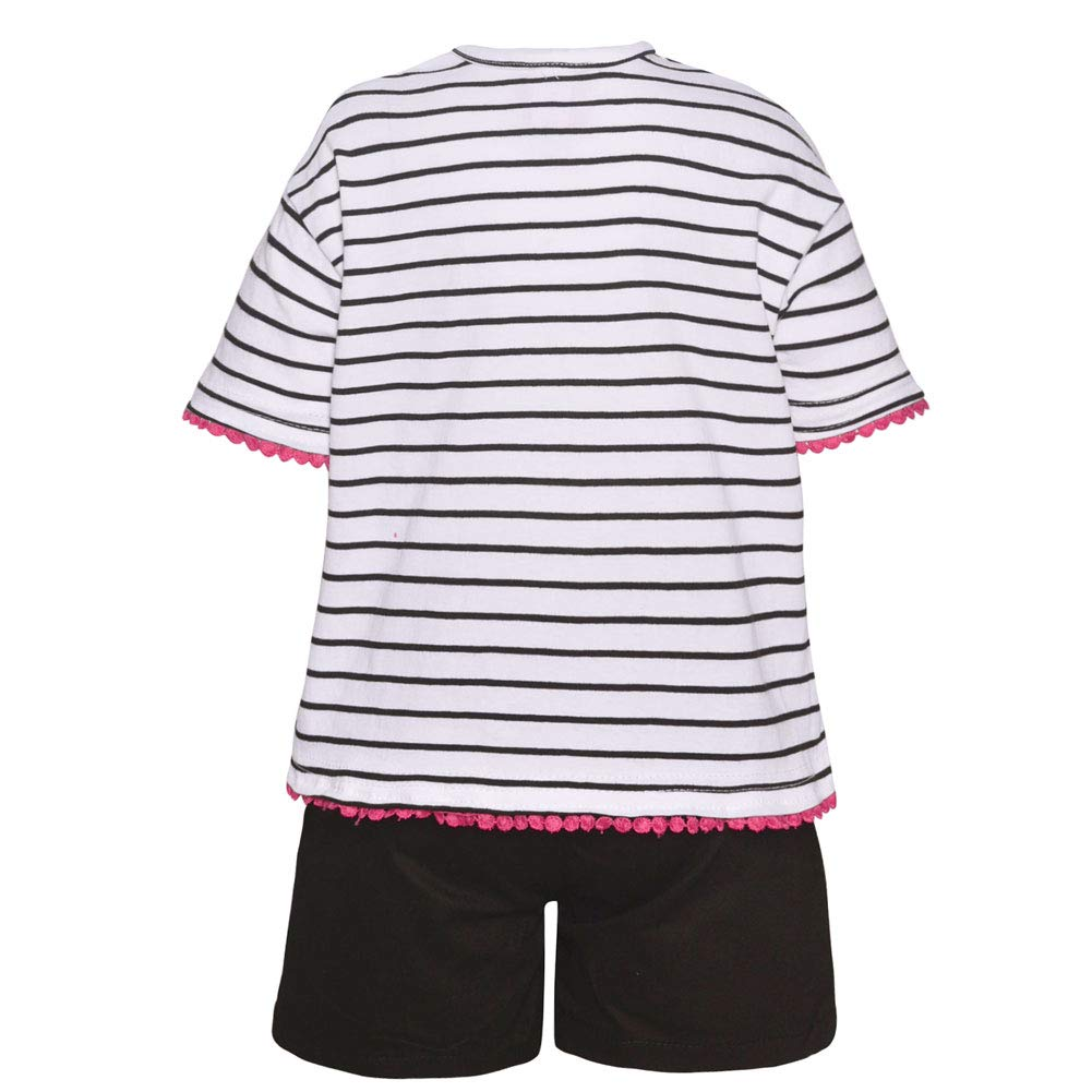 Big Girls Black Gold Hello Flower Stripe Print 2 Pc Shorts Outfit 7-16