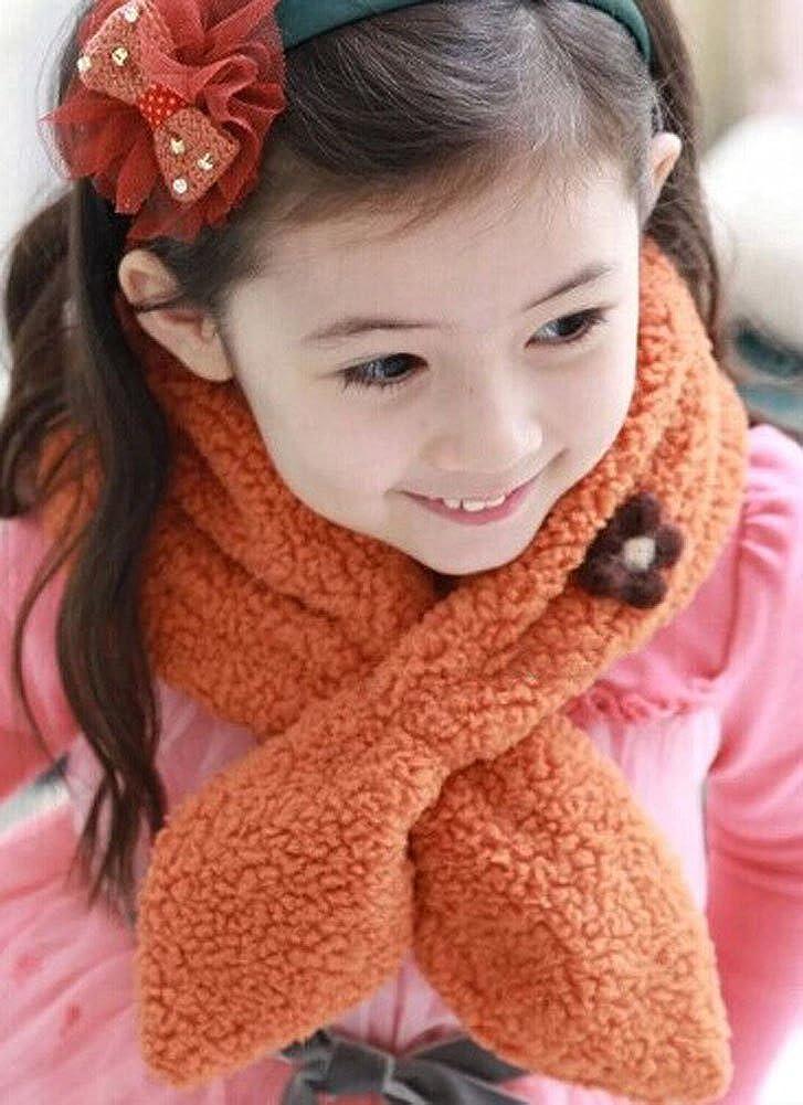 Orange Cute Winter Warm Scarf With Flower For 2-10 year-old girls 82x17cm