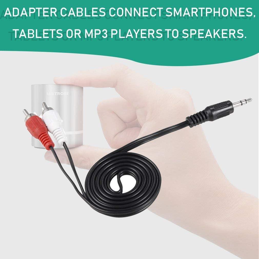 Likai 1//83.5 Mm Plug Jack to 2 RCA Male St/ér/éo Audio Y Adaptateur C/âble Adaptateur Kabel Noir