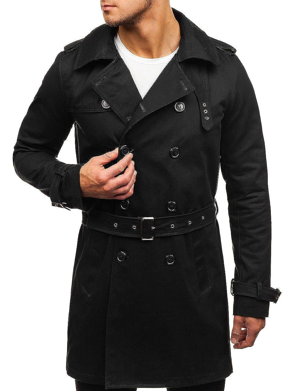 BOLF Herren Mantel Trenchcoat mit Gürtel Business Elegant Täglicher Stil 4D4 NATURE 5110
