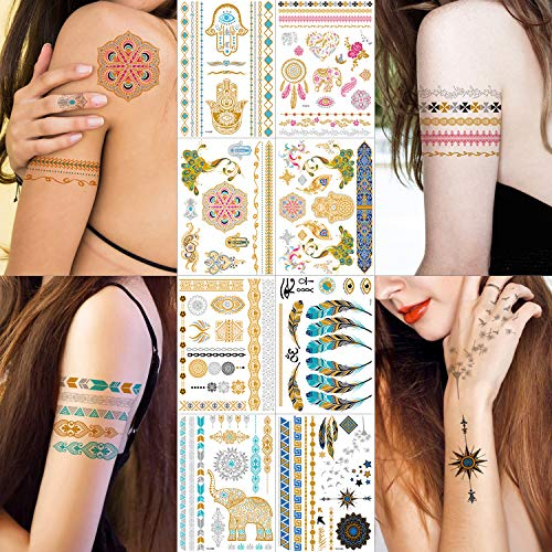 Metallic Tattoos - 100+ Shimmer Designs in Gold, Silver, Black, Blue, Red and Turquoise - Temporary Fake Jewelry Tattoos - Bracelets, Feathers, Elephant, Peacock, Mandala Mehndi, Wrist and Arm Bands]()