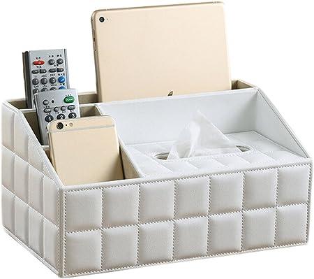 Fablcrew Bo/îte /à Mouchoirs Multifonction Cuir PU avec 4 Compartiments Bo/îte de Rangement T/él/écommande pour la Maison et le Bureau Organiseurs Blanc