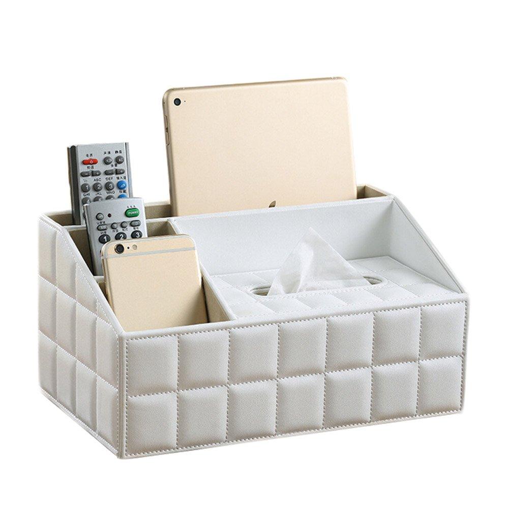 Kentop Tissue Box Desktop Zubeh/ör Organizer Multifunktions PU-Leder Aufbewahrungsbox mit Halterung f/ür Fernbedienung Schwarz