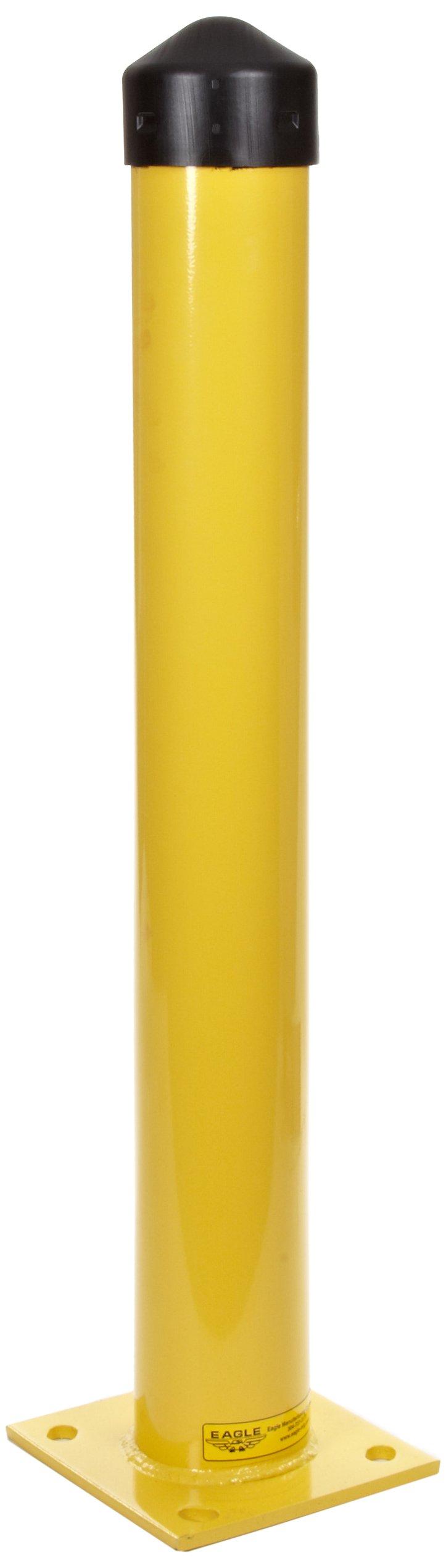 Eagle 1743 4'' Steel Round Bollard Post with Black HDPE Cap, Yellow Powder Coat Finish, 36'' Height, 4.5'' Diameter