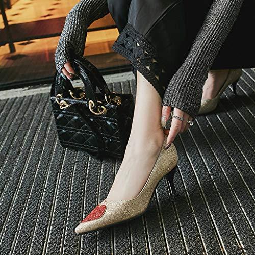 Bouche Printemps Size Plus Chixiao Talon Femmes Chaussures Or Plat Petite Haut Toe Aiguille Commuting q8wAU8f
