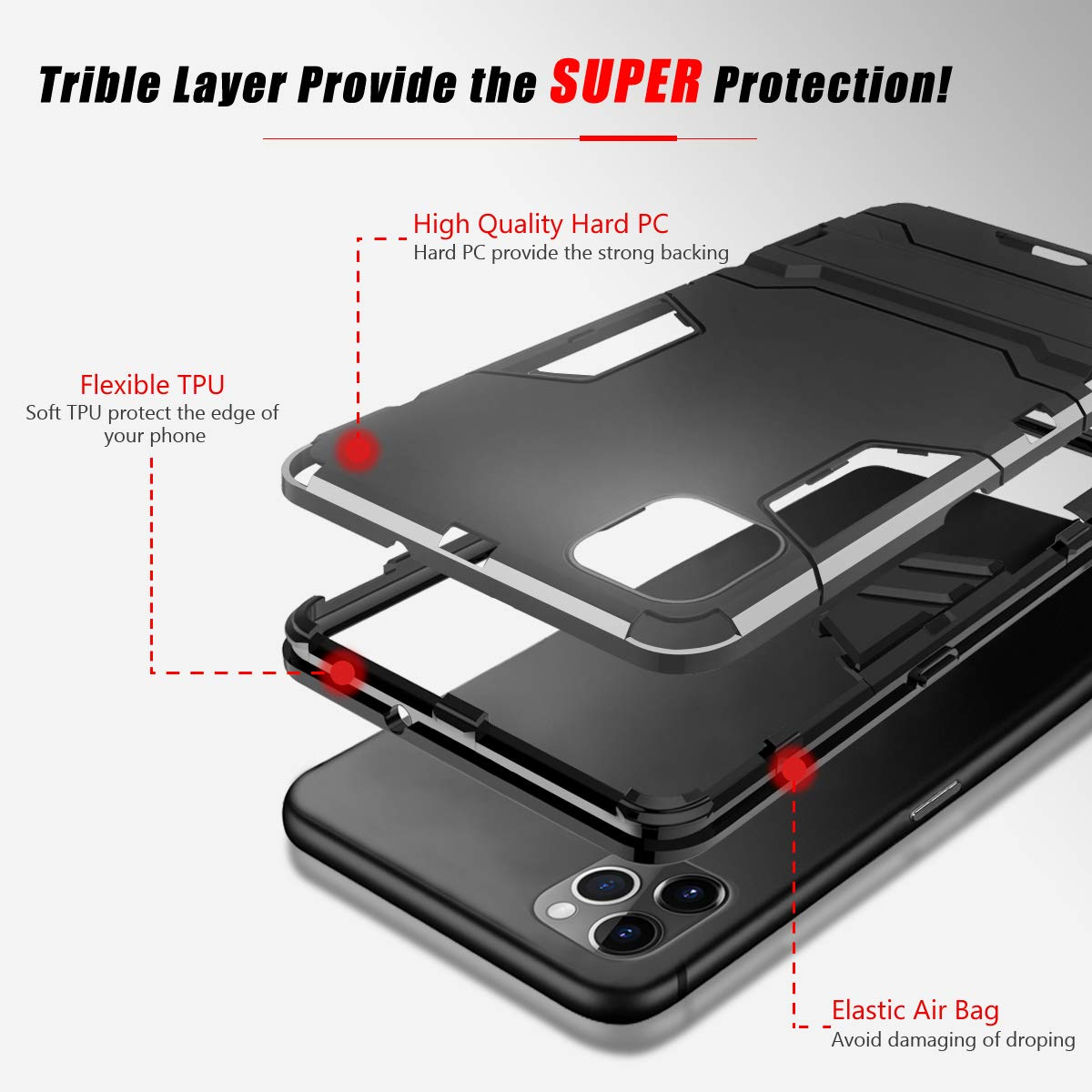 Dual-use Phone Shell + TPU Bumper + Airbag Shockproof Anti-Scratch Phone Cover Invisible Kickstand Triple Layer Full Protection Case - Black Hybrid Dual-use Phone Case for Apple iPhone 11 Pro 5.8