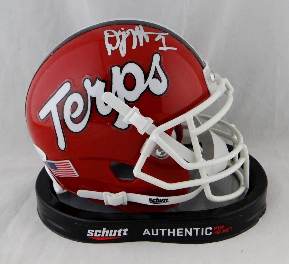 DJ Moore Autographed Maryland Terps Schutt Mini Helmet- JSA W Auth Silver