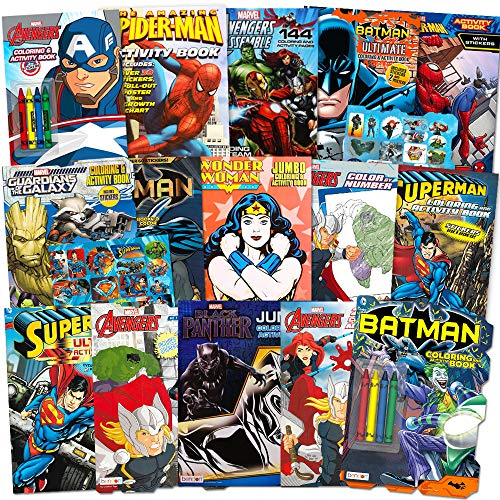 Superhero Ultimate Coloring Book Assortment ~ 15 Books Featuring Avengers, Spiderman, Justice League, Batman and More (Includes Stickers) -