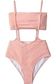 ab8ee48c49cb1 CUPSHE Women's Peach Bandeau High Waist Suspender Two Piece Swimsuit