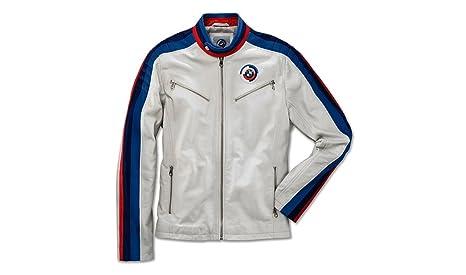 BMW Motosport pelle d  agnello giacca da uomo bianco con cerniera ... 6b19130aea3