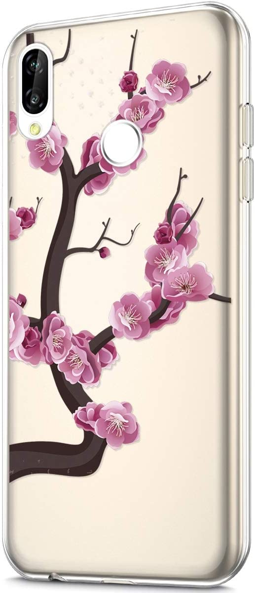 Herbests Compatible with Huawei P20 Lite Flower Case Girls Men Clear Design Thin Slim Fit Soft Flexible Crystal Transparent Silicone Rubber TPU Back Cover,Gold