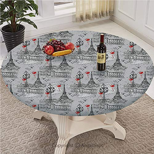 Fitted Table Cloth Round With Elastic Edge with