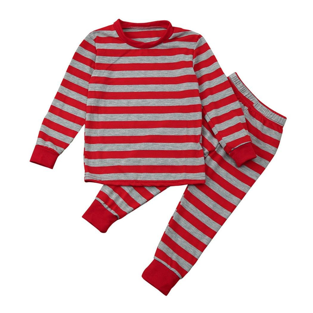 Kids Boys Girls Long Sleeve Stripe T-shirt Tops+Pants Outfit Clothes Pajamas Set