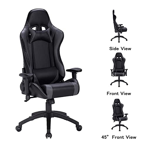LCH Ergonomic Computer Gaming Chairs- Racing Style Height Adjustable, High-Back PU Leather Executive Office Chair with Headrest and Lumbar Support