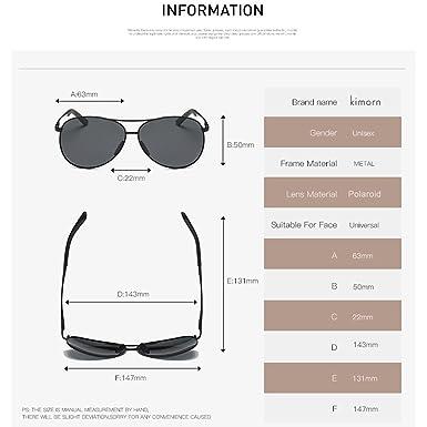 Kimorn Polarizado Gafas De Sol Hombre Estilo Piloto Marco De Metal Unisexo Lentes K0583 0A26ev