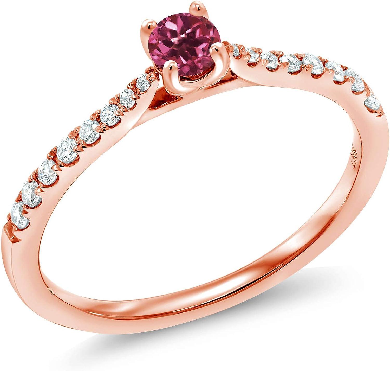 Gem Stone King 10k Rose Gold 0 23 Ct Round Pink Tourmaline G H Lab Grown Diamond Solitaire Engagement Ring Amazon Com