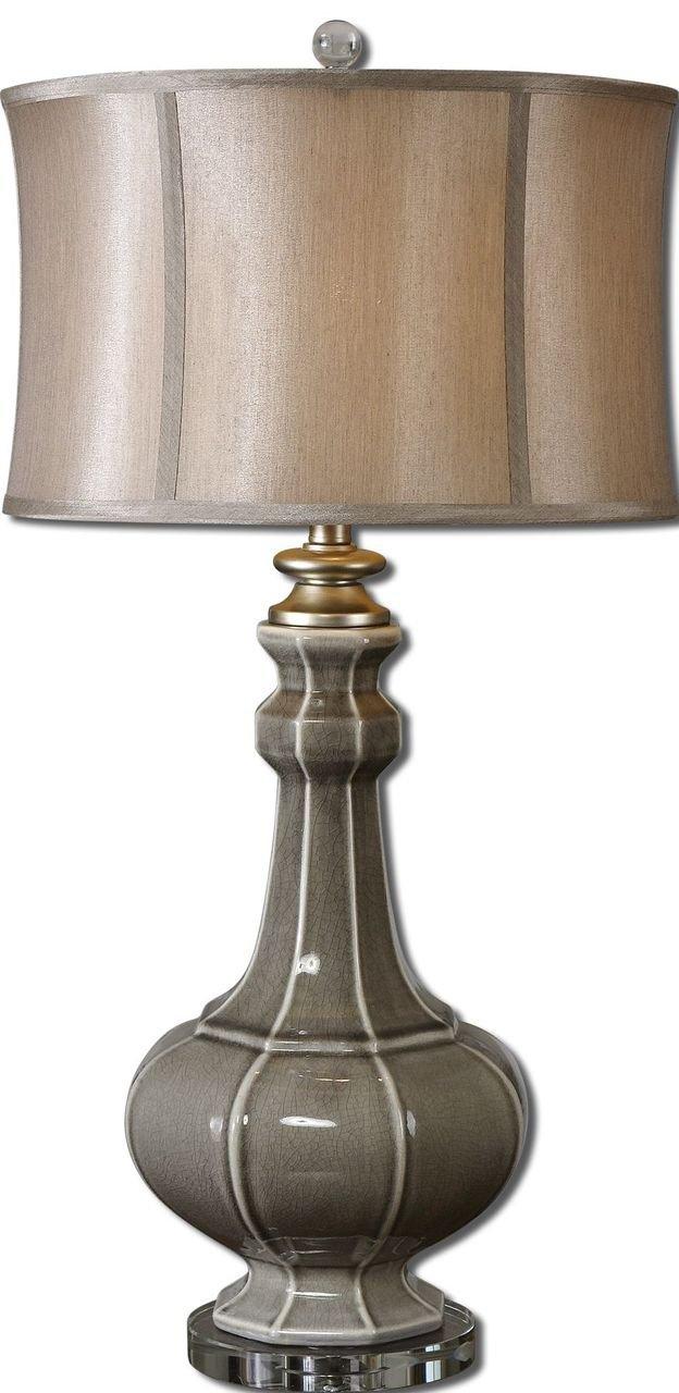 Amazon.com: Elegante funda Crackled gris lámpara de mesa de ...
